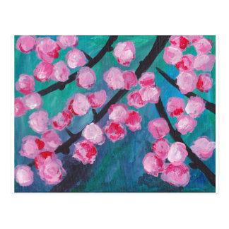 Japanese Cherry Blossom Painting Postcard