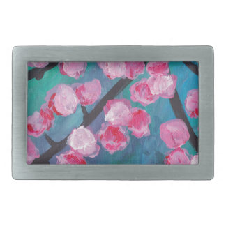 Japanese Cherry Blossom Painting Rectangular Belt Buckle