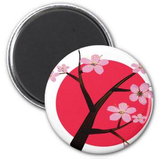 Japanese Cherry Blossom Tattoo 2 Inch Round Magnet