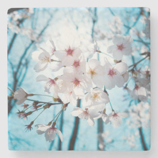 Japanese Cherry Blossom Zen Stone Coaster