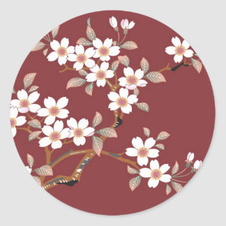 Japanese Cherry Blossoms Classic Round Sticker