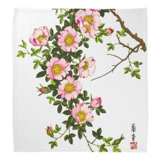 Japanese Cherry Blossoms, Pink and Gold Bandana