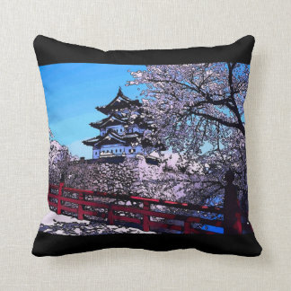 Japanese Cherry Blossoms Watercolor Throw Pillow