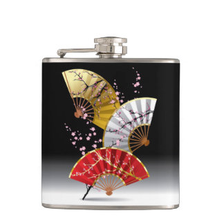 Japanese Cherry Fans 6 oz Vinyl Wrapped Flask