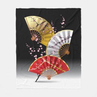 Japanese Cherry Fans Fleece Blanket