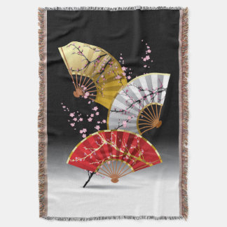 Japanese Cherry Fans Woven Throw Blanket
