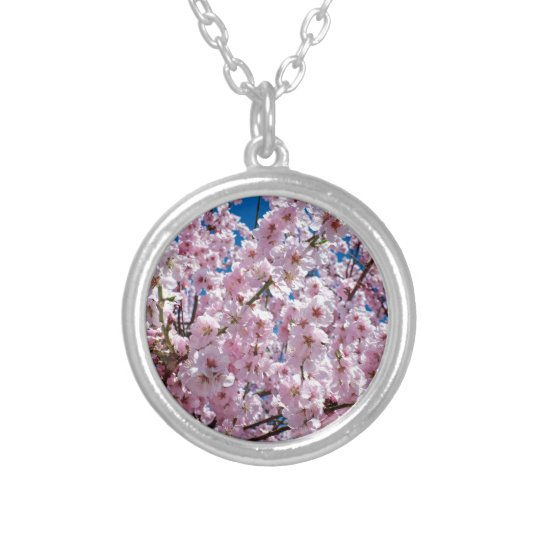 Japanese cherry Flower Silver Plated Necklace