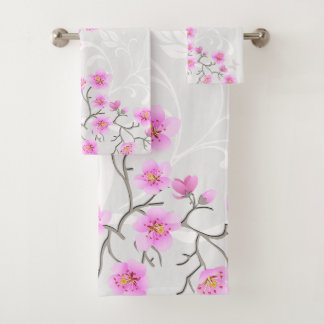Japanese Cherry Flowers Bathroom Towel Set
