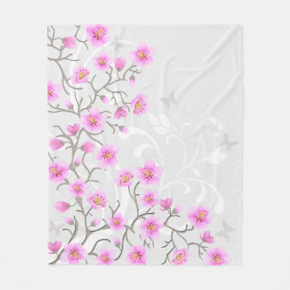 Japanese Cherry Flowers Fleece Blanket