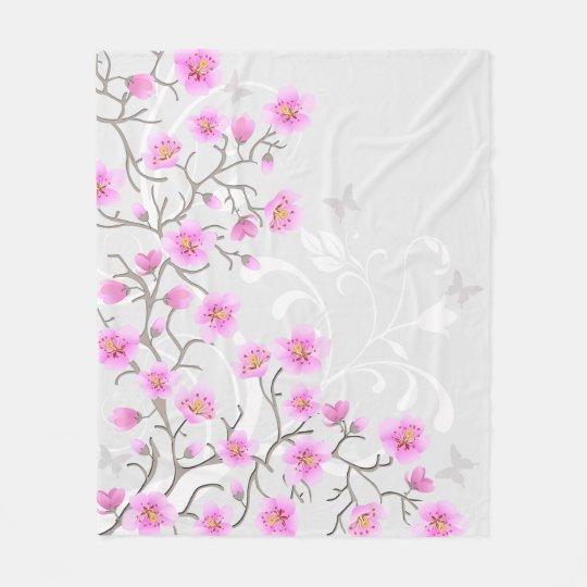 Japanese Cherry Flowers Fleece Blanket