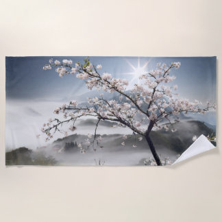 Japanese Cherry Landscape Beach Towel