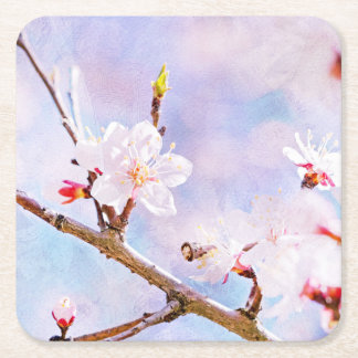Japanese Cherry - Sakura In Bloom Square Paper Coaster