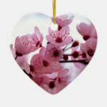 Japanese Cherry Tree Blossoms Ceramic Heart Ornament