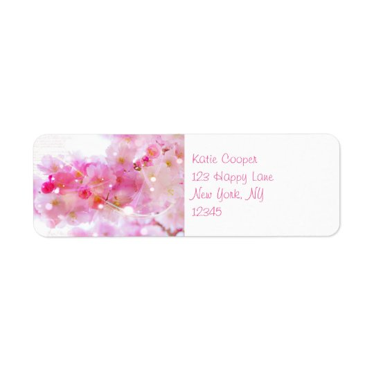 Japanese Cherry Tree with Pastel Pink Blossoms Return Address Label