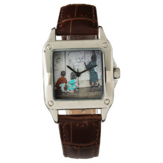 Japanese Children Painting on Paper Walls Vintage Watches