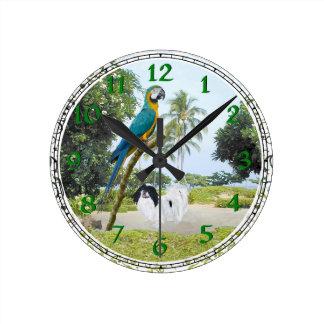 Japanese Chin and Macaw Round Clock