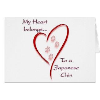Japanese Chin Heart Belongs Card