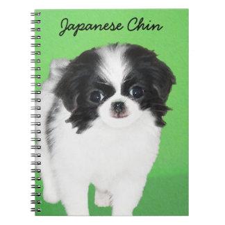 Japanese Chin Puppy Painting - Original Dog Art Notebook