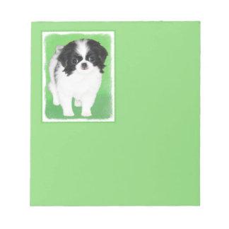 Japanese Chin Puppy Painting - Original Dog Art Notepad