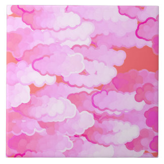 Japanese Clouds, Dawn, Orchid Pink and Coral Ceramic Tiles