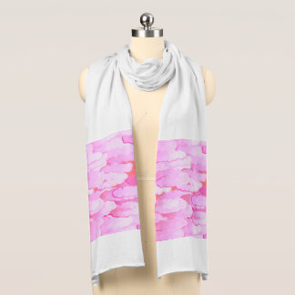 Japanese Clouds, Dawn, Orchid Pink and Coral Scarf