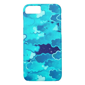 Japanese Clouds, Evening Sky, Turquoise and Indigo iPhone 8/7 Case