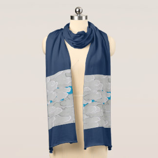 Japanese Clouds, Summer Day, White and Sky Blue Scarf