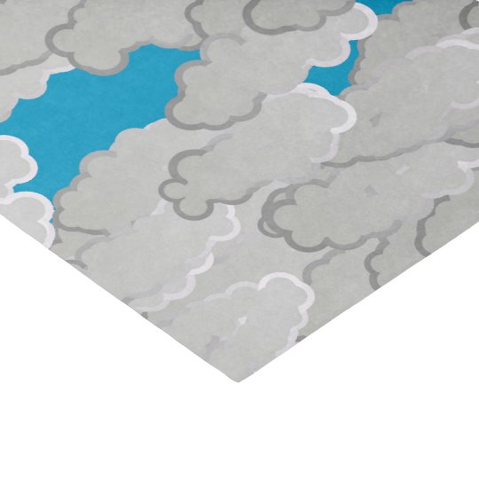 Japanese Clouds, Summer Day, White and Sky Blue Tissue Paper