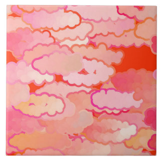 Japanese Clouds, Sunset, Coral, Fuchsia, Pink Ceramic Tile