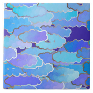 Japanese Clouds, Twilight, Violet and Cobalt Blue Tile
