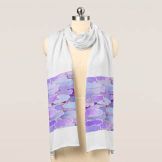 Japanese Clouds, Twilight, Violet and Deep Purple Scarf