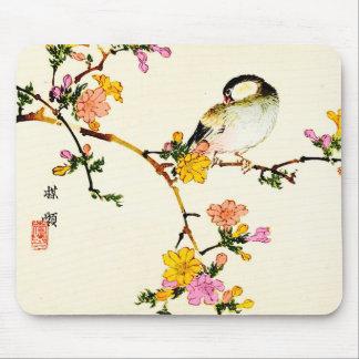 Japanese Colorful Flowers & Bird Mousepad