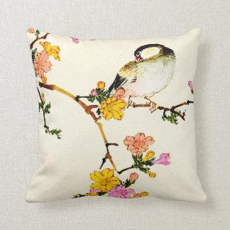 Japanese Colorful Flowers & Bird Throw Pillow