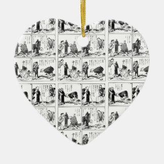 Japanese comic strip ceramic heart ornament