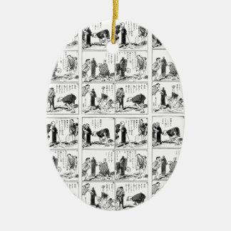 Japanese comic strip ceramic oval ornament