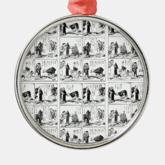 Japanese comic strip Silver-Colored round ornament