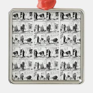Japanese comic strip Silver-Colored square ornament
