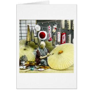 Japanese Craftsman Umbrella Maker No. 2 Vintage Greeting Card