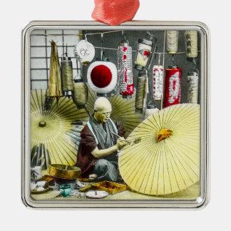 Japanese Craftsman Umbrella Maker No. 2 Vintage Silver-Colored Square Ornament