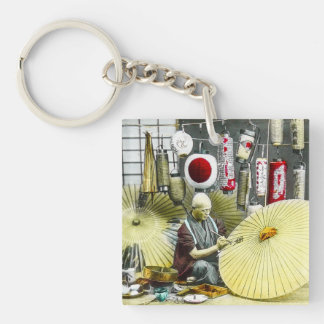 Japanese Craftsman Umbrella Maker No. 2 Vintage Single-Sided Square Acrylic Keychain