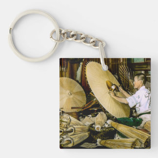 Japanese Craftsman Umbrella Maker Vintage Japan Single-Sided Square Acrylic Keychain