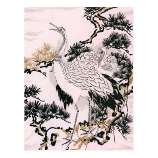 Japanese crane design postcard
