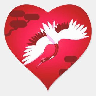 Japanese Crane Heart Sticker