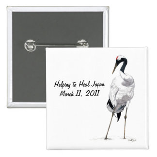 Japanese Crane-Helping to Heal Earthquake Support 2 Inch Square Button