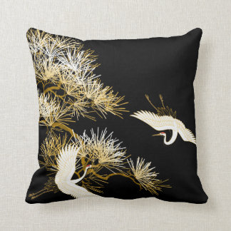 Japanese Cranes Black Gold White Birds pillow