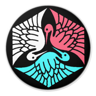 Japanese Cranes, Coral, Turquoise and Black Ceramic Knob