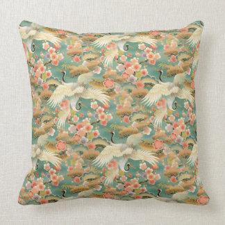 "Japanese Cranes Cotton Throw Pillow 20"" x 20"""