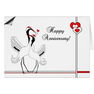 Japanese Cranes Happy Anniversary Card