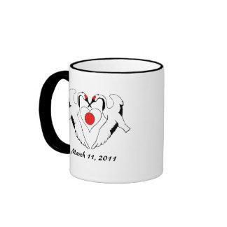 Japanese Cranes & Heart Flag Earthquake Relief Ringer Mug