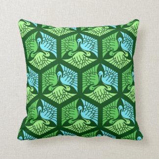 Japanese Cranes, Jade Green and Light Blue Throw Pillow